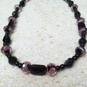 Pink and Black Glass Beaded Necklace